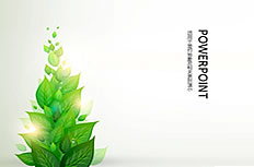 Fresh green leaves ppt background image