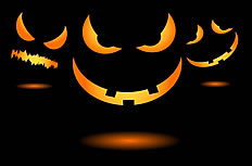 Halloween pumpkins ferocious expression ppt background image
