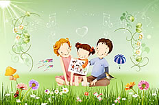 Happy family ppt background image